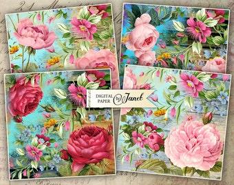 Flower Coaster - 4 x 4 inch - set of 4 cards - Printable Download - Digital Collage Sheet