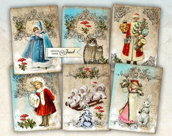 Victorian Christmas Tag - digital collage sheet - set of 6 - Printable Download
