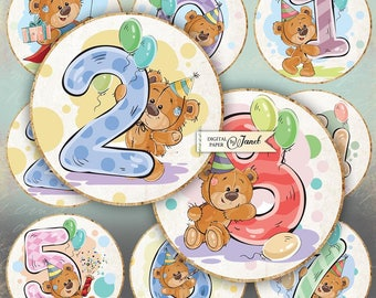 Birthday Numbers - 2.5 inch - set of 12 - digital collage sheet - Baby Stickers - pocket mirrors, tags, scrapbooking, cupcake toppers