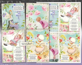 Little Story Cards - illustration stories - digital collage sheet - set of 4 cards - Printable Download