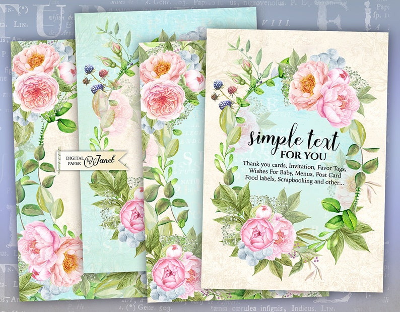 Invitation Cards  digital collage sheet  set of 4 cards  image 0