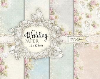 Wedding Paper - Scrapbooking Printable Paper - 12 x 12 inch - background - set of 8 - Printable Download
