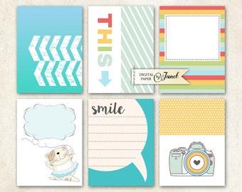 Journal Cards - Smile - Project Life - digital collage sheet - set of 6 cards - Printable Download