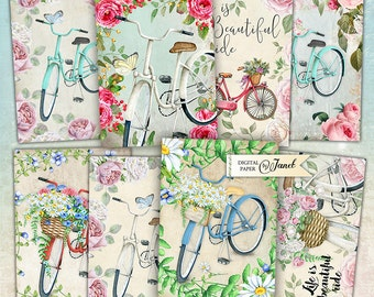 Bicycle Ride - digital collage sheet - set of 8 - Printable Download - Watercolor Flower