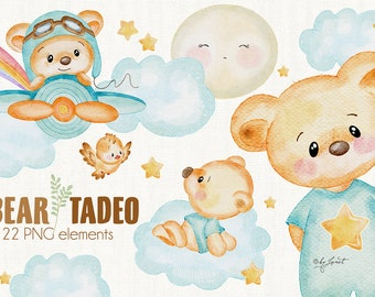 Bear Tadeo - art baby clipart - animal illustration - Watercolor Elements - PNG file