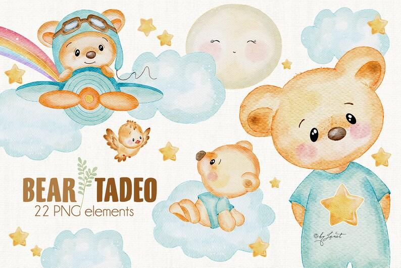Bear Tadeo  art baby clipart  ilustracja zwierząt  Akwarele zdjęcie 0