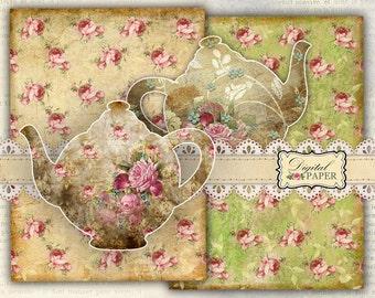 TEA paper and Teapot - digital collage - set of 3 sheet - printable paper