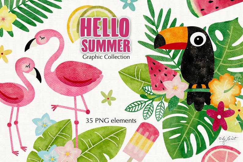 Hello Summer Collection  tropical clipart  illustration  zdjęcie 0