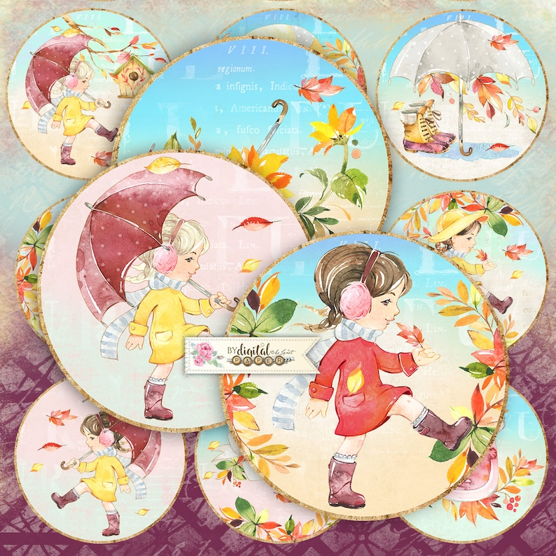 Autumn Novel  2.5 inch circles  set of 12  pocket mirrors image 0