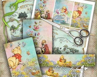 Winnie thePooh and Antique Map - digital collage sheet - set of 6 - Printable Download