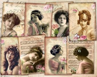 Bella Signora - digital collage sheet - set of 8 - Printable Download