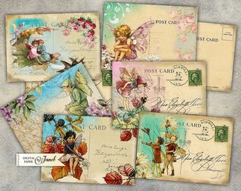 Fairy Postcard - digital collage sheet - set of 8 - Printable Download