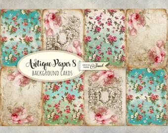 Antique Paper 8 - background cards - digital collage sheet - set of 8 - Printable Download