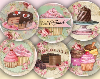 Little Patisserie - 2.5 inch circles - set of 12 - digital collage sheet - pocket mirrors, tags, scrapbooking, cupcake toppers