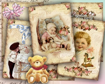 New Baby Born - digital collage sheet - set of 8 - Printable Download