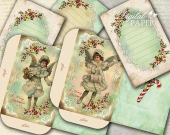 Envelopes - Merry Christmas - digital collage sheet - set of 2 sheet - Printable download