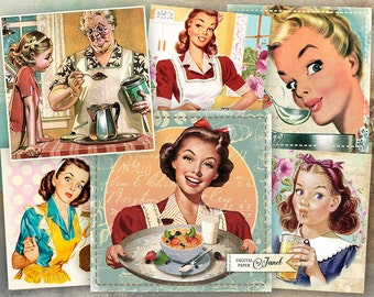 Cooking Cards 3 - set of 6 - digital collage sheet - Printable Download