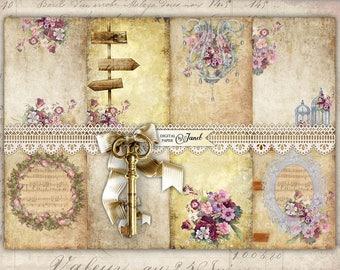 Secret Paper - background - digital collage sheet - set of 8 - Printable Download