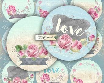LOVE circles - 2.5 inch circles - set of 12 - digital collage sheet - pocket mirrors, tags, scrapbooking, cupcake toppers