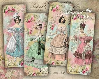 Jane Austen - set of 6 bookmarks - digital collage - printable JPG file