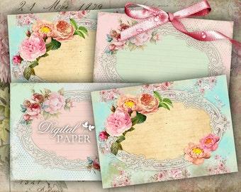 Pastel Tags - digital collage sheet - set of 8 - Printable Download