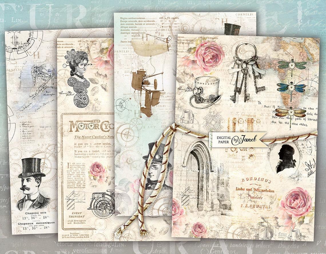 Karty steampunk-cyfrowy kolaż arkusz-zestaw 4 kart-do druku image 0