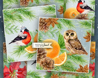 Winter Time - set of 6 cards - digital collage sheet - Printable Download