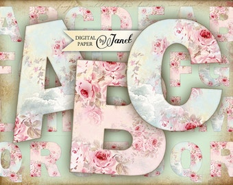 Roses Alphabet - digital collage sheet - printable alphabet set - JPG or PNG file