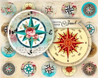 Compass - circles image - digital collage sheet - 1 x 1 inch - Printable Download