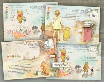 Art Mail - Winnie de Pooh - illustration stories - digital collage sheet - set of 4 cards - Printable Download