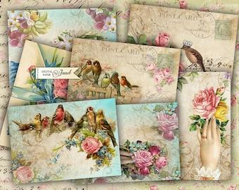 Greeting Cards - digital collage sheet - set of 8 - Printable Download