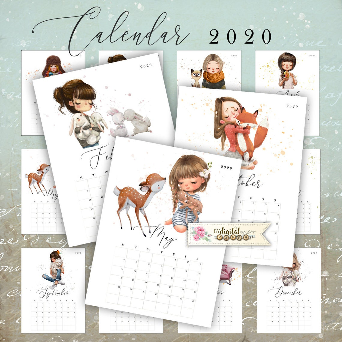 Journal Cards  Calendar 2020  Project Life  digital collage image 0