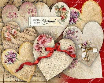 LOVE Hearts - digital collage sheet - set of 2 sheet - Printable Download
