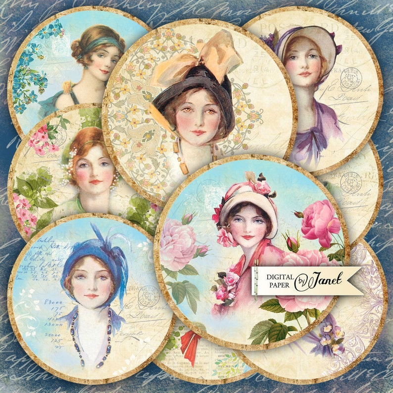 Pretty Women  2.5 inch circles  set of 12  digital collage image 0