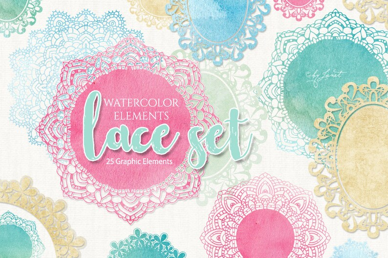 Lace Set  25 Graphic Elements  PNG file  Printable Download image 1