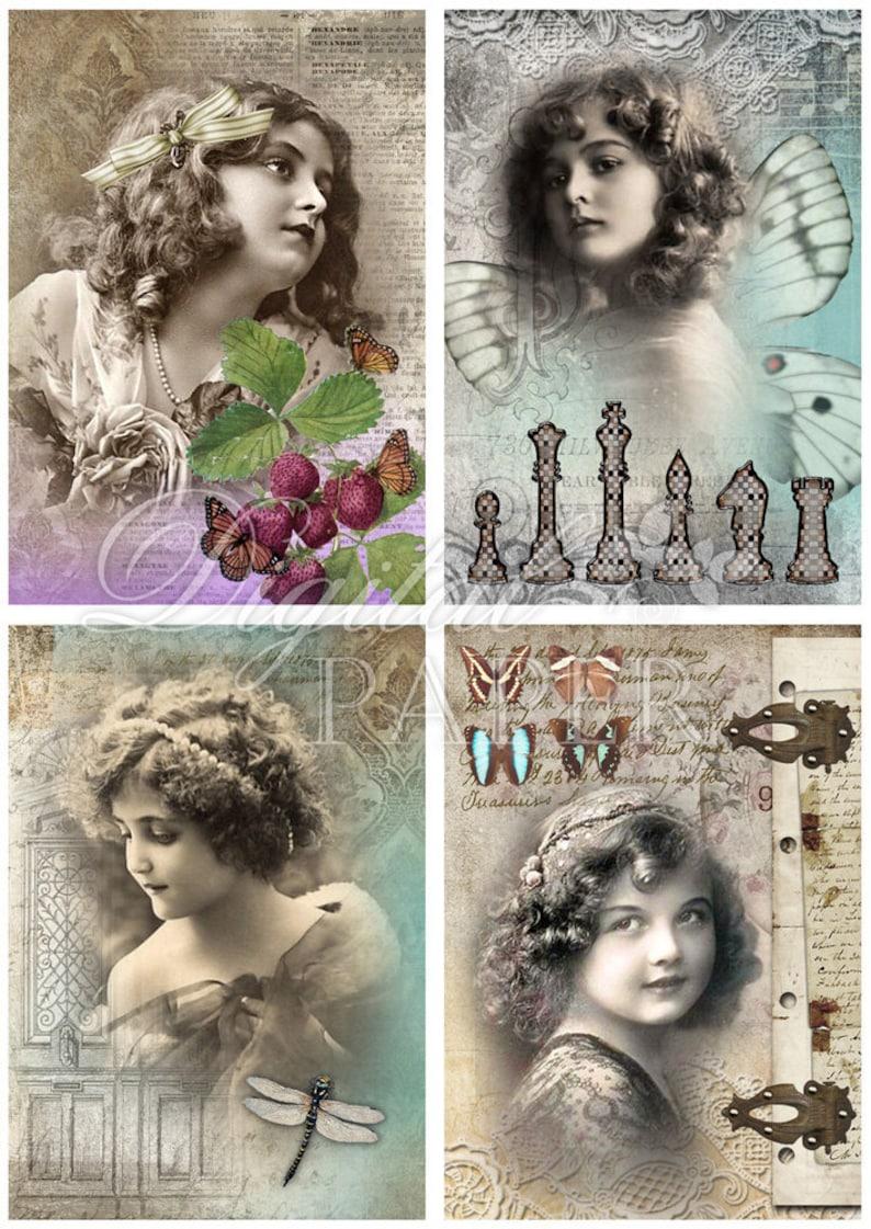 Printable Download digital collage sheet set of 4 cards Golden Minuts