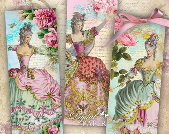 Marie - set of 6 bookmarks - digital collage - printable JPG file