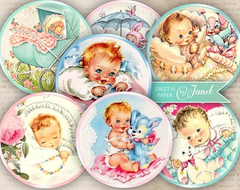 BABY party - 2.5 inch circles - set of 12 - digital collage sheet - pocket mirrors, tags, scrapbooking, cupcake toppers