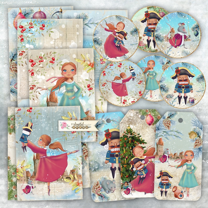 Nutcrackers Story Cards  digital collage sheet  Art File  image 0