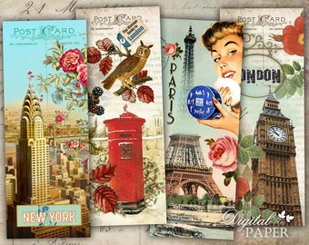 Fashion Word - set of 6 bookmarks - digital collage - printable JPG file
