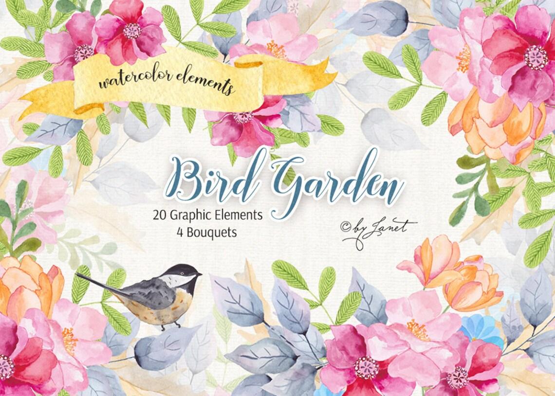 Ptak ogród-Floral akwarela Elements-plik PNG image 0
