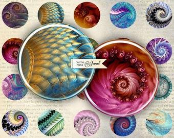 fractals - circles image - digital collage sheet - 1 x 1 inch - Printable Download