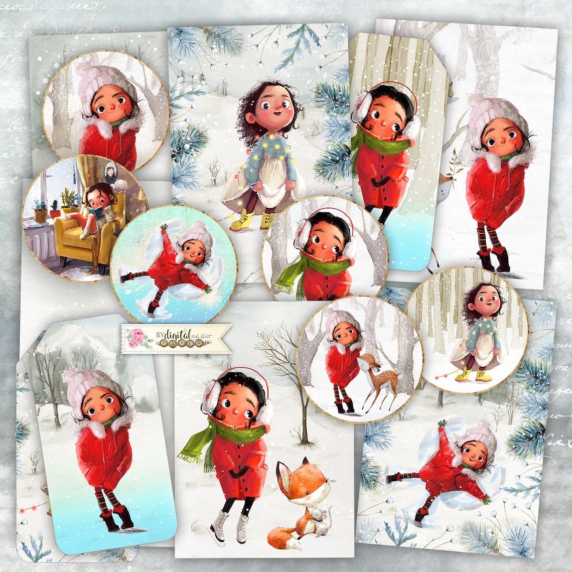 Winter Story  Scrapbooking Kits  digital collage sheet  Art image 0
