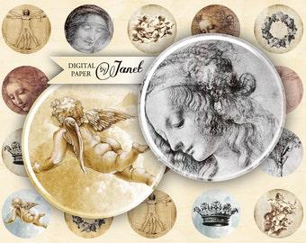 Leonardo - circles image - digital collage sheet - 1 x 1 inch - Printable Download