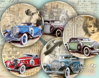 Auto Vintage - 2.5 inch circles - set of 12 - digital collage sheet - pocket mirrors, tags, scrapbooking, cupcake toppers