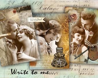 Write to me - digital collage sheet - set of 6 - Printable Download