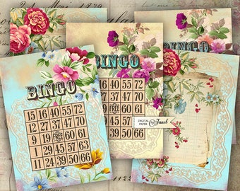 BINGO - background - digital collage sheet - set of 8 - Printable Download