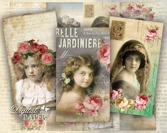 Old Tags - digital collage sheet - set of 8 - Printable Download