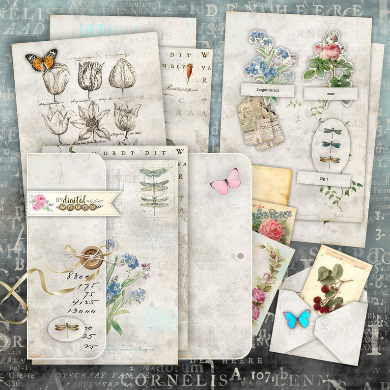 Botanica Mini Journal and Cards for Cutting Out  Junk Journal image 0