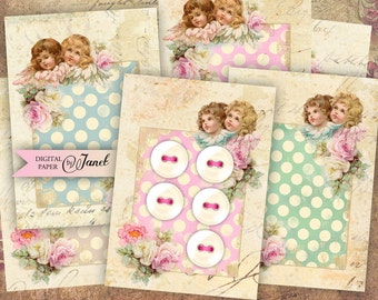 Button Tags - digital collage sheet - set of 8 - Printable Download
